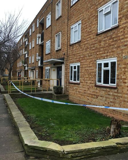 The scene of a fatal stabbing in Boyton Road, Hornsey. Picture: Lucas Cumiskey