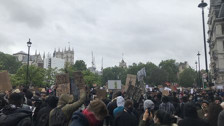 Peaceful protesters at a Black Lives Matter protest on June 6 in Central London. Picture: Rebecca Sm