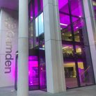 Camden Council's offices in King's Cross lit up purple in support of Black Lives Matter. PIcture: Ca