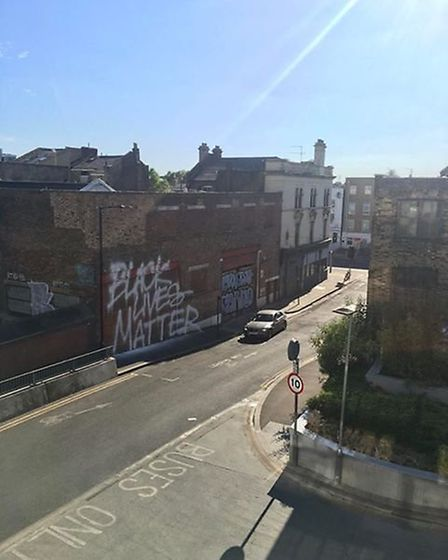 The Black Lives Matter graffiti in Forest Road. Picture: Priya Dave