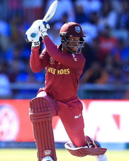 West Indies' Shimron Hetmyer in batting action during the 2019 ICC World Cup