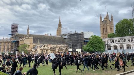 Protesters arriving in Parliament Square on Sunday, June 7, having marched from the US Embassy. Pict
