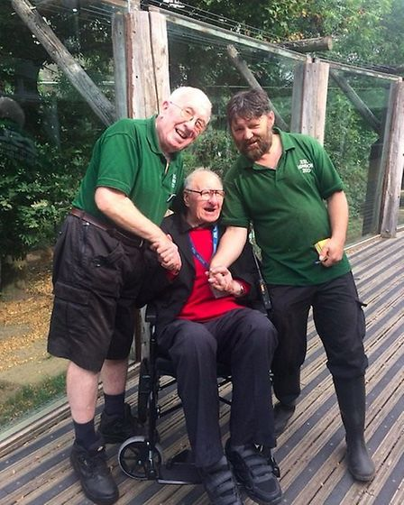George Fitt with London zoo keepers Matt Hennessy and Paul Kybett. Picture: London Zoo