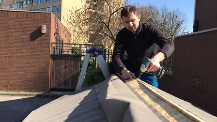 The food shed being built at St George and All Saints in Tufnell Park. Picture: Kentish Town Vegbox