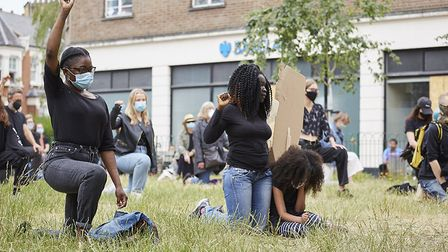 Cllr Julia Ogiehor (Lib Dem, Muswell Hill) among those kneeling in solidarity with victims of anti-B