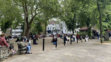 A crowd of protestors kneel in Highgate. Picture: Roni Collins