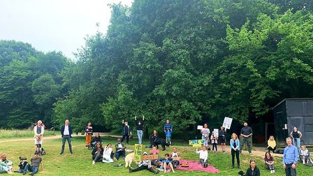 A small protest in support of the Black Lives Matter movement in Highgate Wood. Picture: Yolanda Per