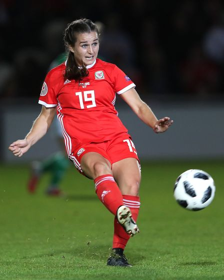 Megan Wynne in action for Wales during the UEFA Women's Euro 2021 Qualifying