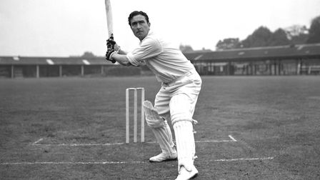 Middlesex and England cricketer Denis Compton poses at the wicket at Lord's Cricket Ground.