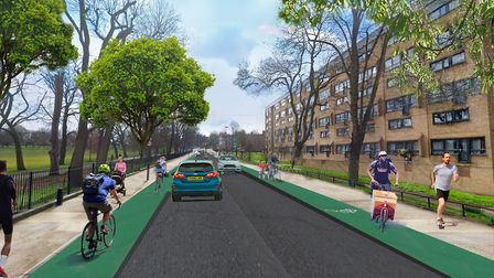 Hackney Cycling Campaign's vision for Green Lanes. Picture: Jono Kenyon