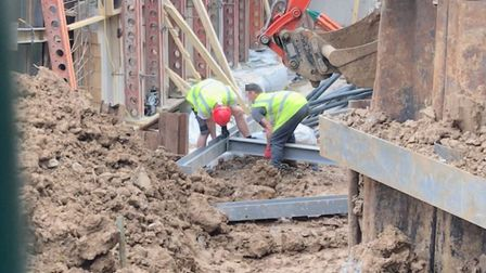 Workers at the site, off of Montpelier Grove, were photographed within two metres of one another. Pi