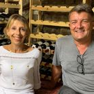 Mike and Beatrix Clark in the new wine cellar. Picture: Simon Hookway