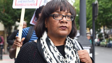 Diane Abbott at a protest last year at Stoke Newington police station over the death of Rashan Charl