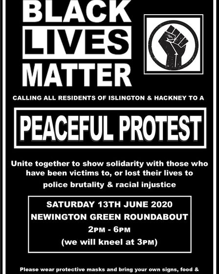 A peaceful and socially distanced Black Lives Matter protest will be held on June 13. Picture: Che