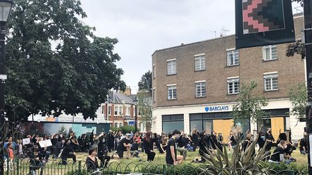 Crouch Enders kneel in solidarity with Black Lives Matter protesters in front of Hornsey Town Hall.