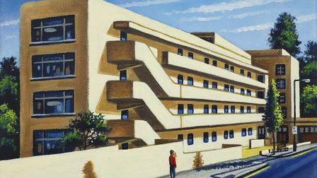 John Duffin's painting of Hampstead's Isokon building has 30percent off in Catto Gallery's Lockdown
