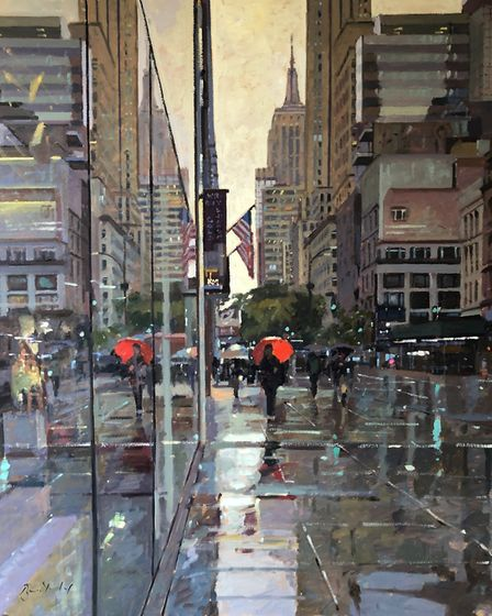 Bruce Yardley, Red Umbrella Fifth Avenue oil on canvas will feature in the Catto Gallery's first pos