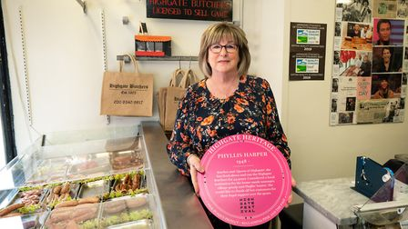 Phyllis Harper with her pink plaque. Picture: Siorna Ashby