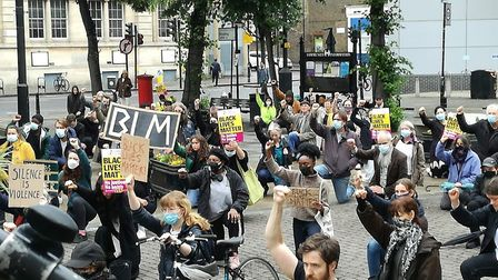 The Black Lives Matter protest outside Hackney Town Hall. Picture: Sasha Simic