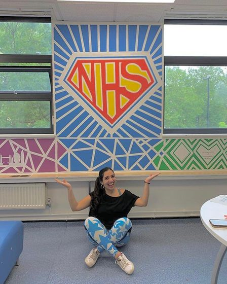 The staff room mural is superman-NHS inspired. Picture: Submitted by Mumtaz Mooncey