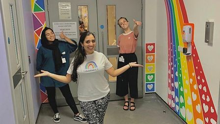 The first mural with Felicity, Shelina, and Mumtaz. Picture: Submitted by Mumtaz Mooncey
