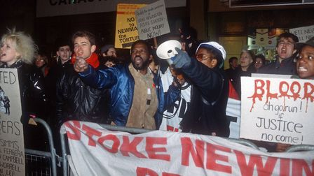 Protesters demonstrate against the death of Colin Roach, a 21-year-old black British man, who died f