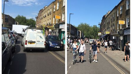 Broadway Market, before and after the street was closed. Picture: Brian Jones