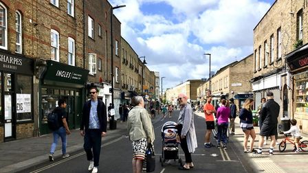 Broadway Market after it was closed to traffic. Picture: Brenda Puech