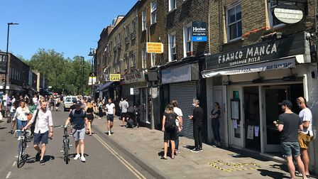 Broadway Market after the street was closed. Picture: Brian Jones