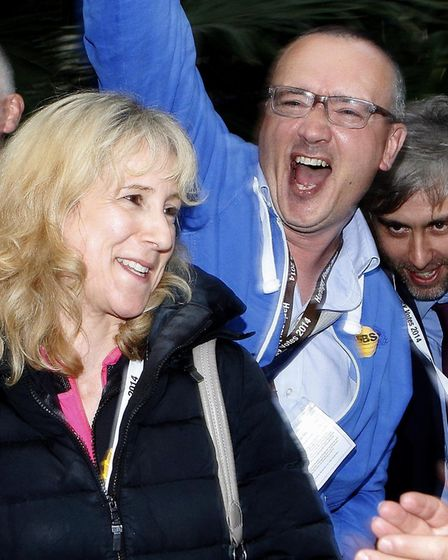 Cllr Morris celebrating at the Haringey election count in 2014. Picture: Tony Gay