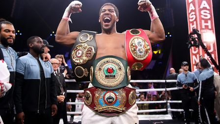 Anthony Joshua after reclaiming the IBF, WBA, WBO and IBO World Heavyweight Championship belts from