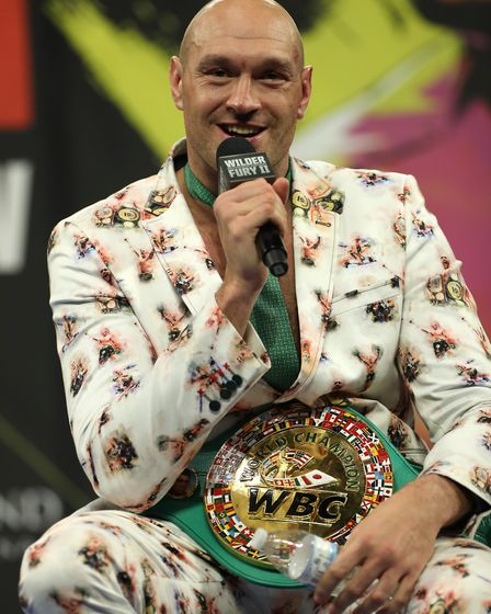 Tyson Fury during the post-fight press conference at the MGM Grand, Las Vegas.