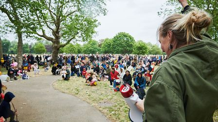 Hundreds of parents and children gathered at Well Street Common on Jne 6 to protest the killing of G