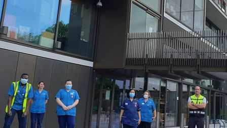 A socially-distancing NHS blood donor team outside of JW3. Picture: JW3