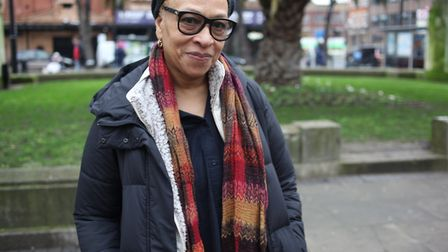 Veronica Ryan in the Town Hall Square where her Windrush artwork could be displayed next year. Pictu