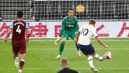 Tottenham's Harry Kane scores his side's second goal during the Premier League match at the Tottenha
