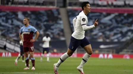Tottenham Hotspur's Son Heung-min celebrates scoring a goal only for it to be ruled offside during t