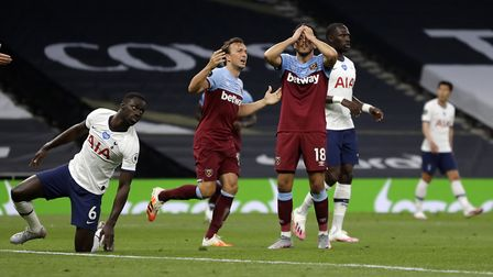 West Ham United's Pablo Fornals reacts after a missed chance during the Premier League match at the