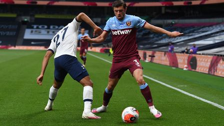 Tottenham Hotspur's Lucas Moura and West Ham United's Aaron Cresswell battle for the ball during the