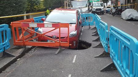 The sinkhole on Woodlea Road.