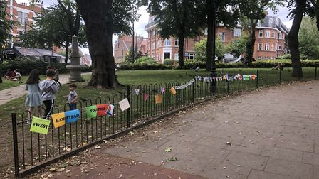 The stretch of bunting in West End Green. Picture: Sam Campling