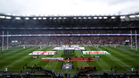 England and Wales line-up for the national anthems before the Guinness Six Nations match at Twickenh