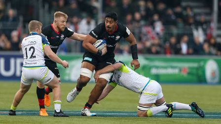 Saracens' Will Skelton attacks against Ospreys during a Heineken Champions Cup pool match at Allianz