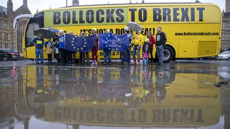 """The """"Bollocks to Brexit"""" campaign bus prepares to leave Westminster. Photograph: Steve Parsons/PA Wi"""