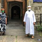 Mother Carol Barrett Ford with Imam Bodrul outside of St Martin's Church, Gospel Oak. Picture: Mothe