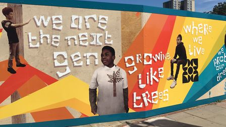 Kids at the Winch have helped created murals on 100 Avenue Road's hoarding. Picture: The Winch