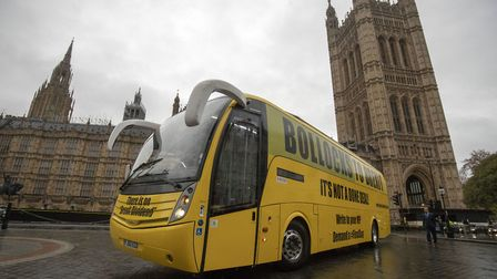 """The """"Bollocks to Brexit"""" campaign bus leaves Westminster. Photograph: Steve Parsons/PA Wire."""