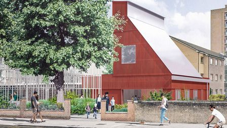 A new scarlet red timber community centre for the George Downing Estate, by Sanchez Benton architect