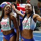 Bianca Williams, right, with teammate Asha Philip at the 2018 European Athletics Championships. Pict