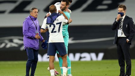 Son Heung-Min of Tottenham Hotspur and Hugo Lloris of Tottenham Hotspur hug after Tottenham Hotspur